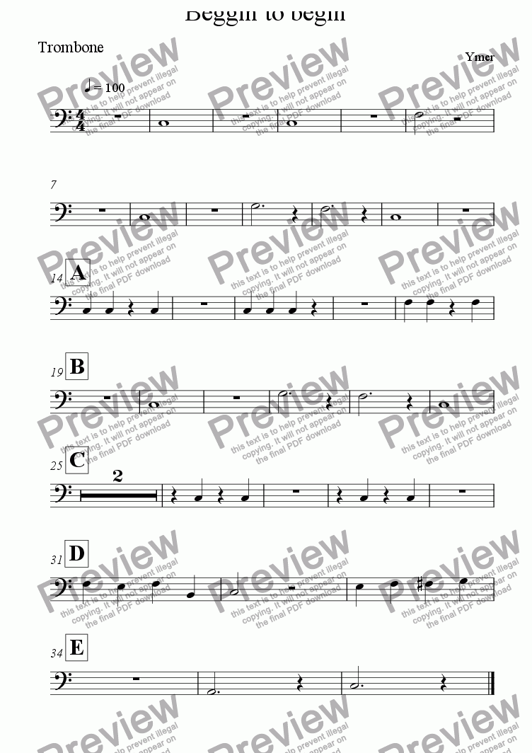 page one of the Trombone part from Beggin to begin