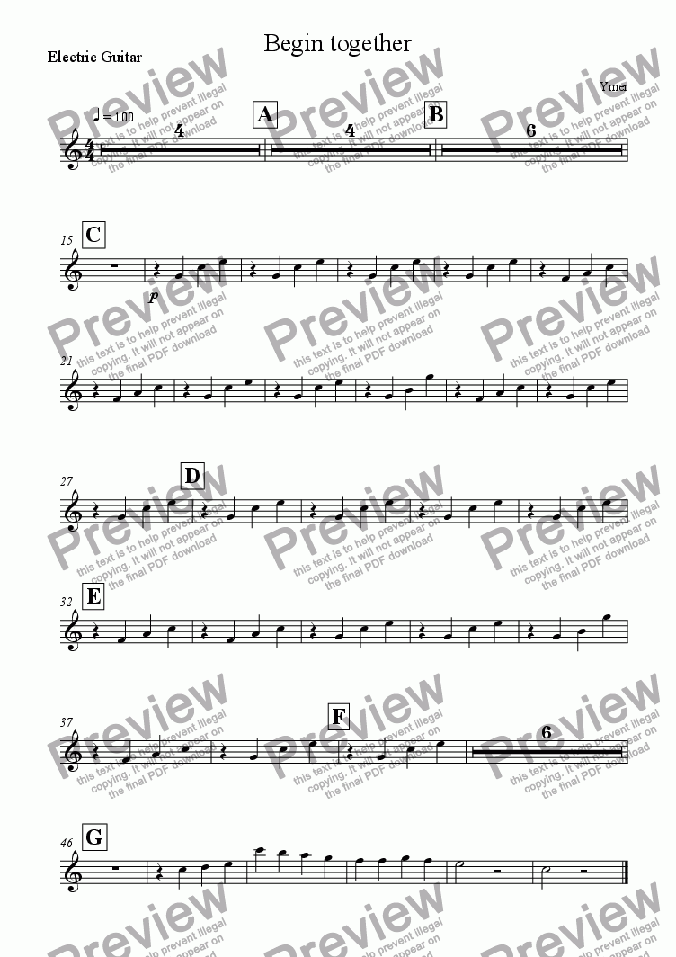 page one of the Electric Guitar part from Begin together