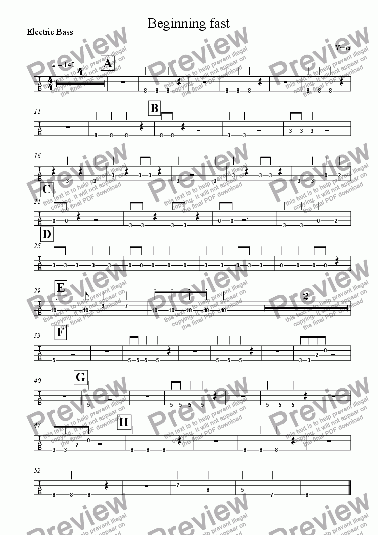 page one of the Electric Bass part from Beginning fast