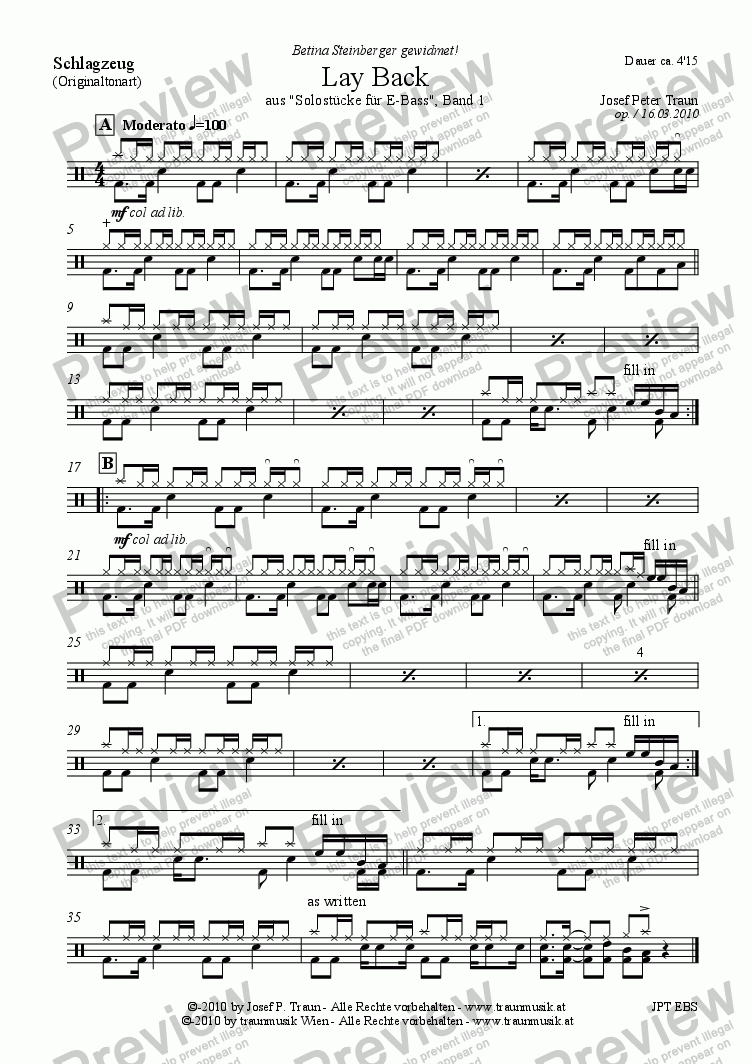 page one of the Schlagzeug part from Lay Back (E-Bass solo)