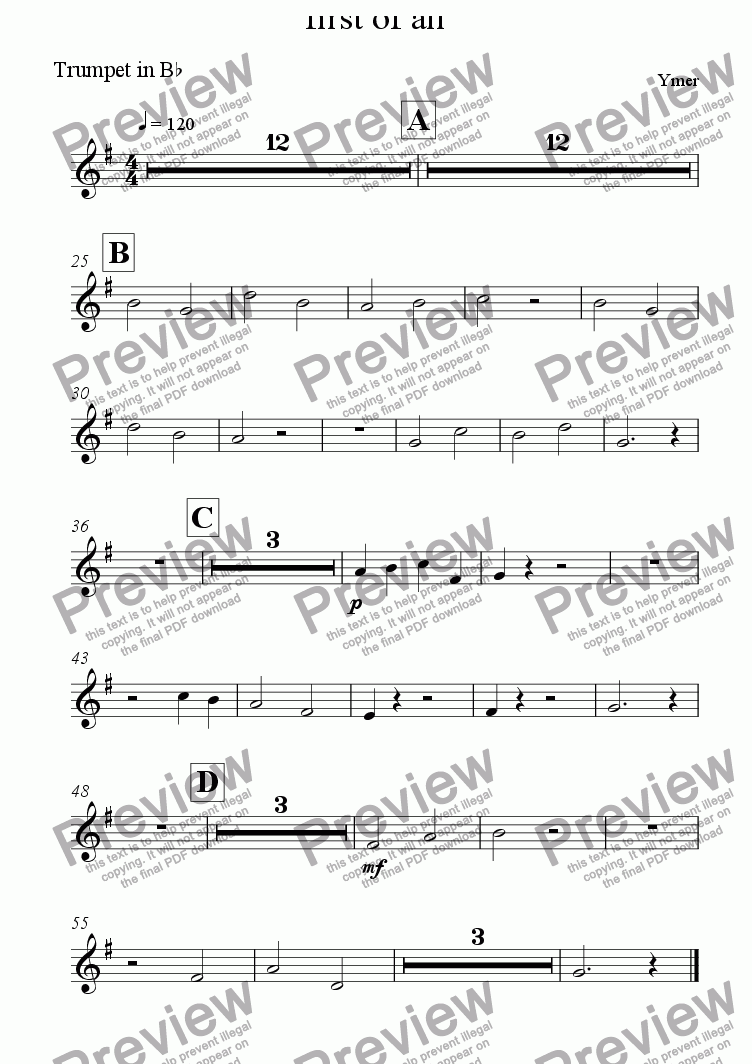 page one of the Trumpet in B^b part from first of all