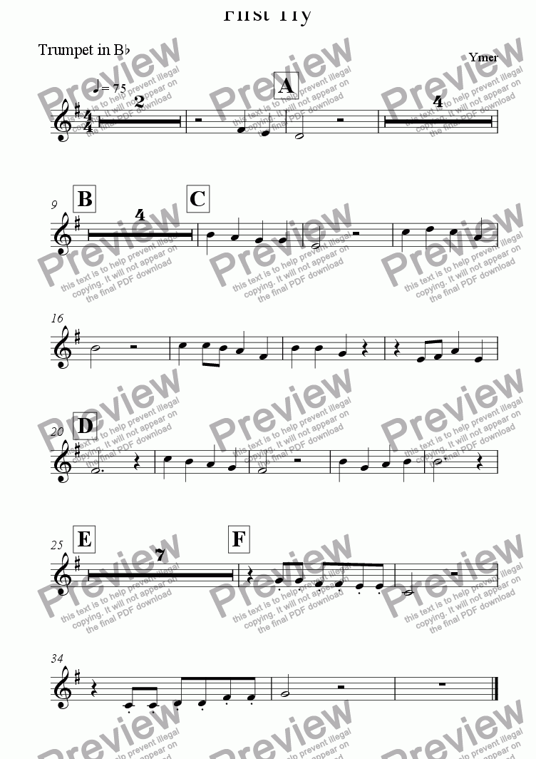 page one of the Trumpet in B^b part from First Try
