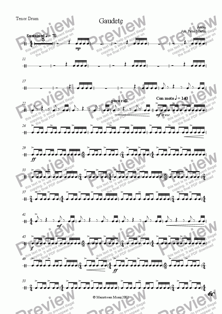 page one of the Tenor Drum part from Gaudete