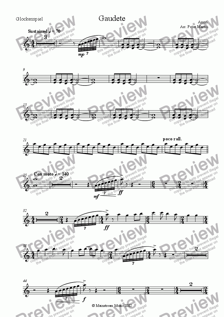 page one of the Glockenspiel part from Gaudete