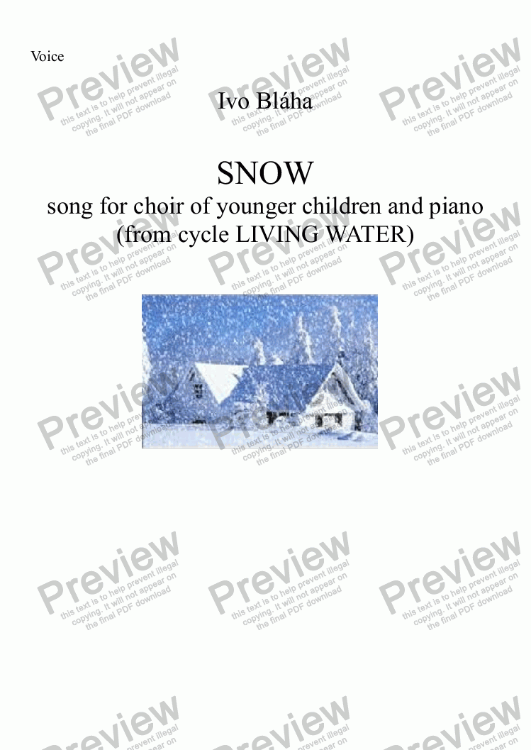 page one of the Choir part from SNOW (Sníh) for choir of younger childrens and piano (English words)