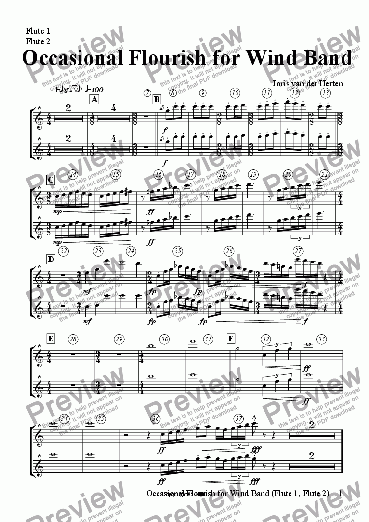 page one of the Flute 1, Flute 2 part from Occasional Flourish (wind band)