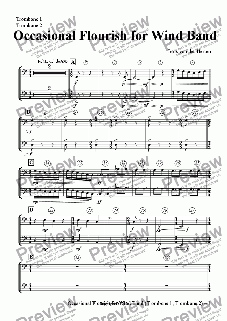page one of the Trombone 1, Trombone 2 part from Occasional Flourish (wind band)