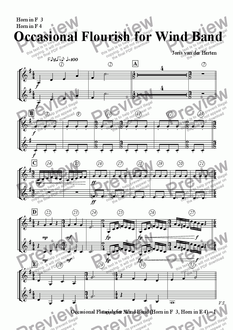 page one of the Horn in F  3, Horn in F 4 part from Occasional Flourish (wind band)