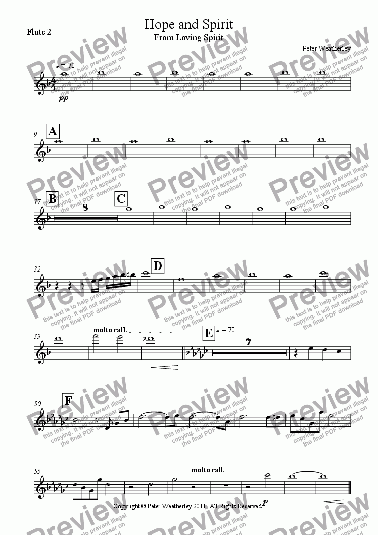 page one of the Flute 2 part from Hope and Spirit