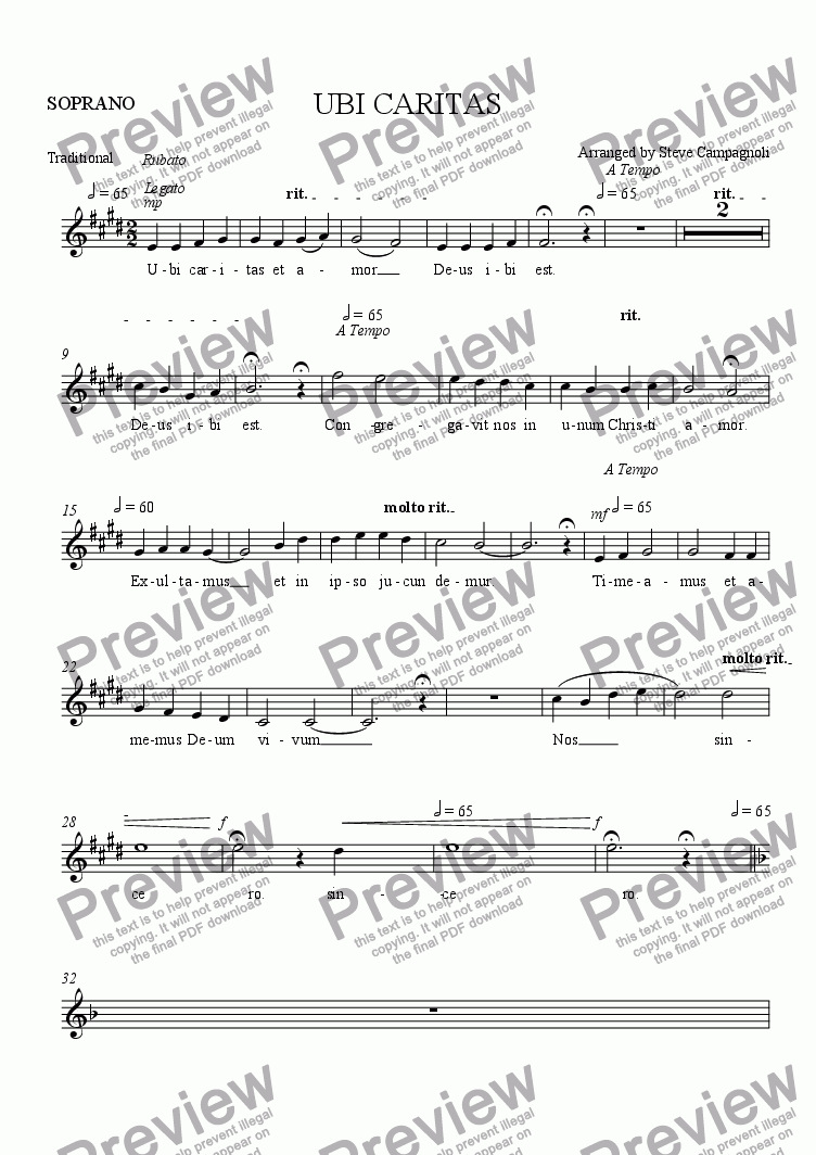 page one of the SOPRANO part from UBI CARITAS