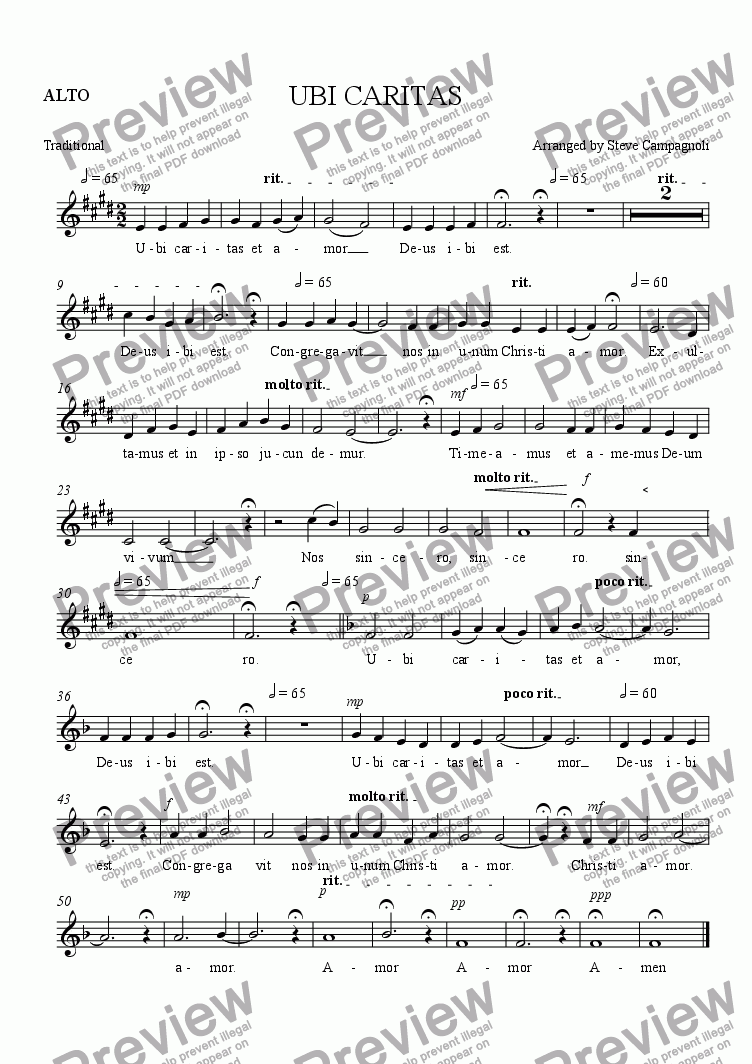 page one of the ALTO part from UBI CARITAS