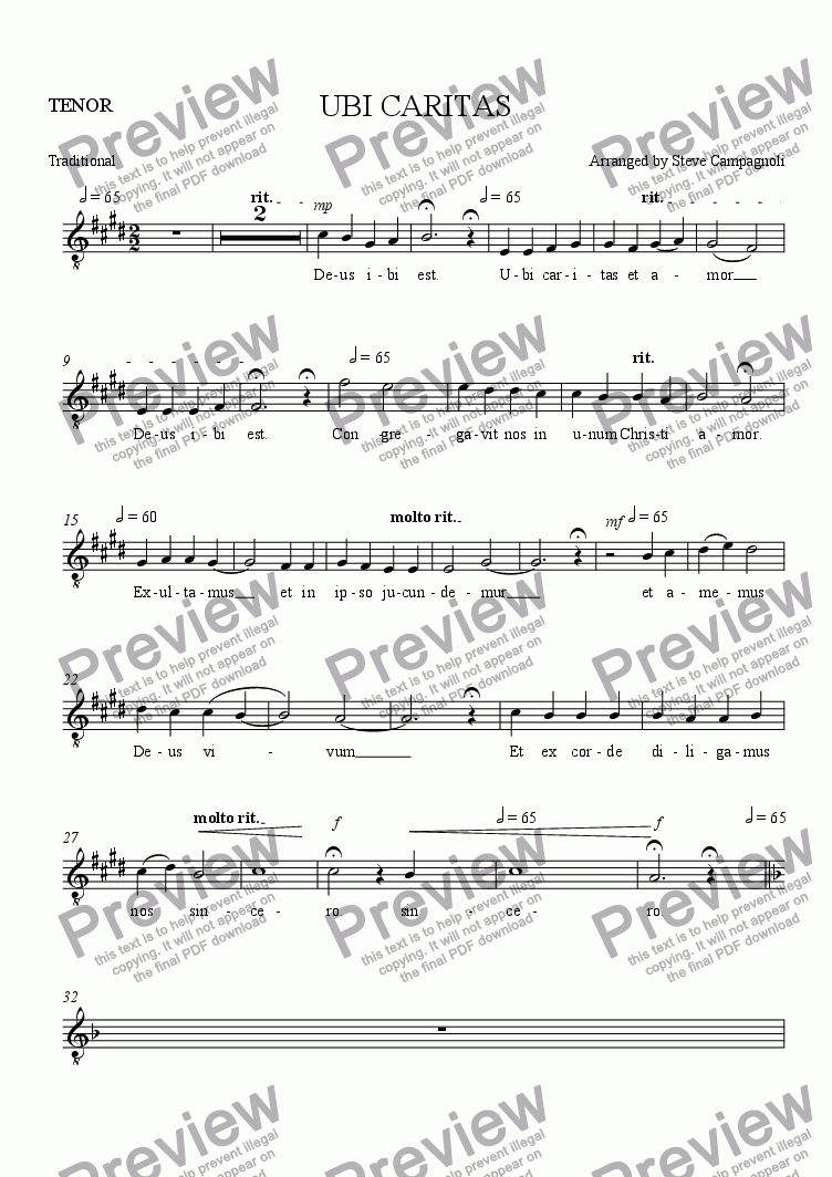 page one of the TENOR part from UBI CARITAS