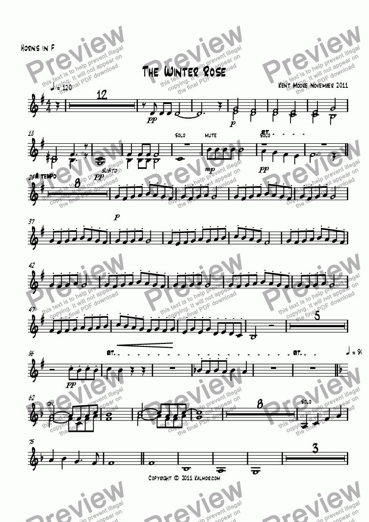 page one of the Horns in F part from The Winter Rose