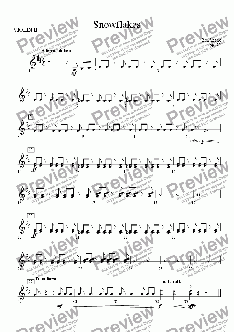 page one of the VIOLIN II part from Snowflakes