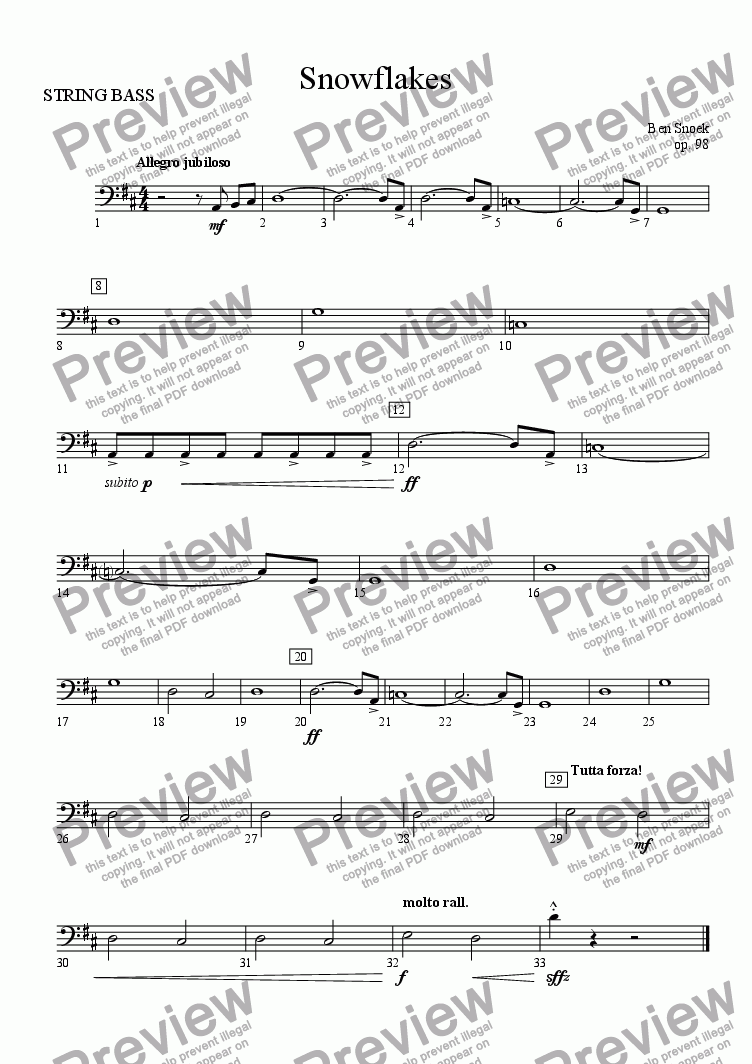 page one of the STRING BASS part from Snowflakes