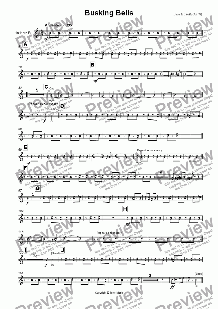 page one of the 1st Horn E^b part from Busking Bells