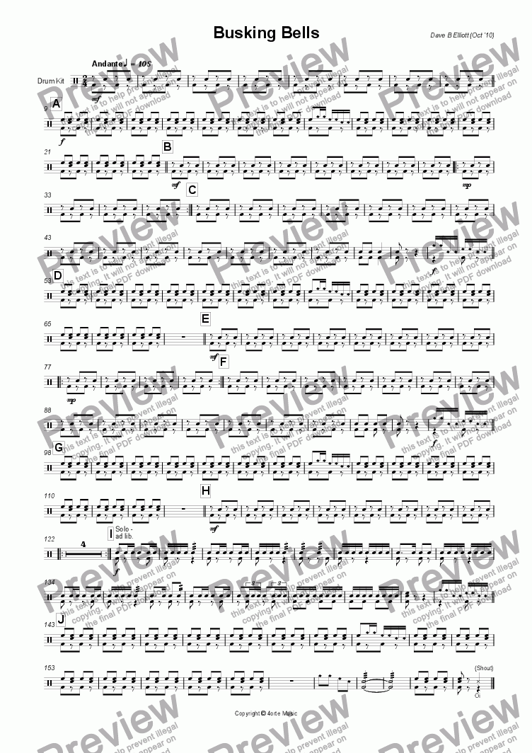 page one of the Drum Kit part from Busking Bells