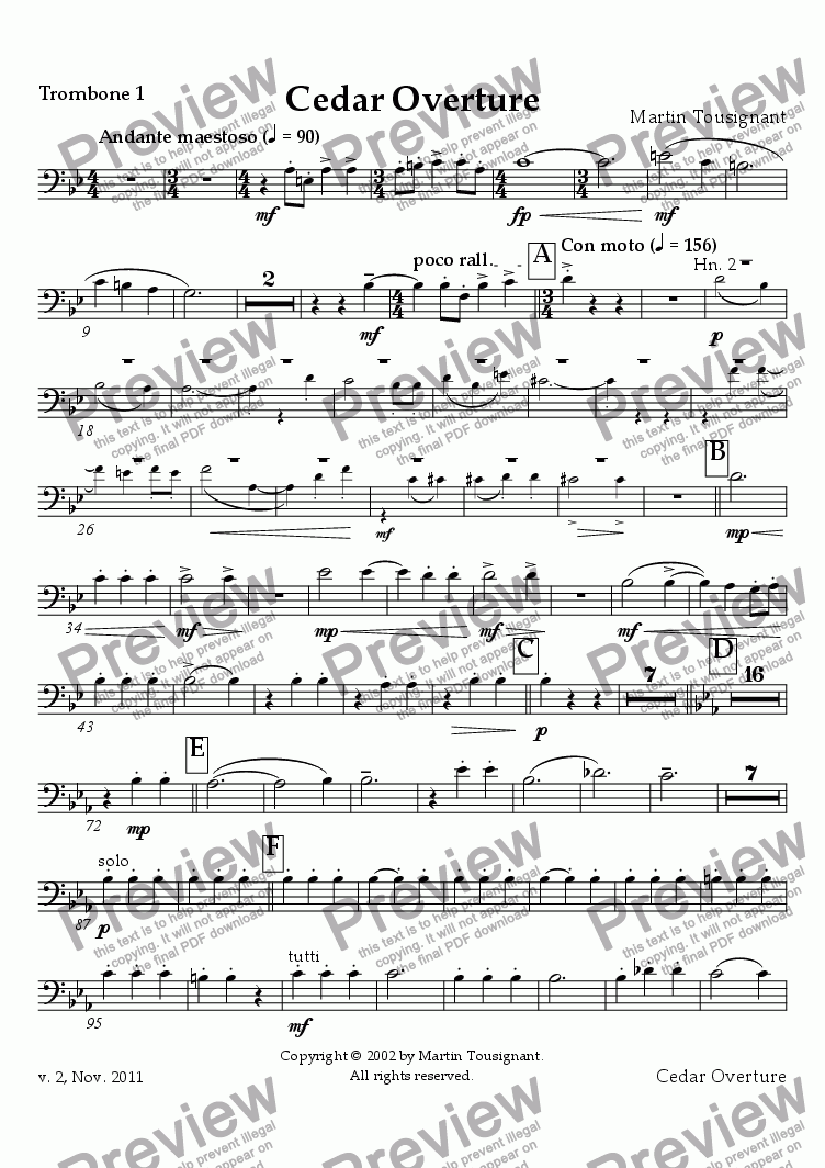 page one of the Trombone 1 part from Cedar Overture