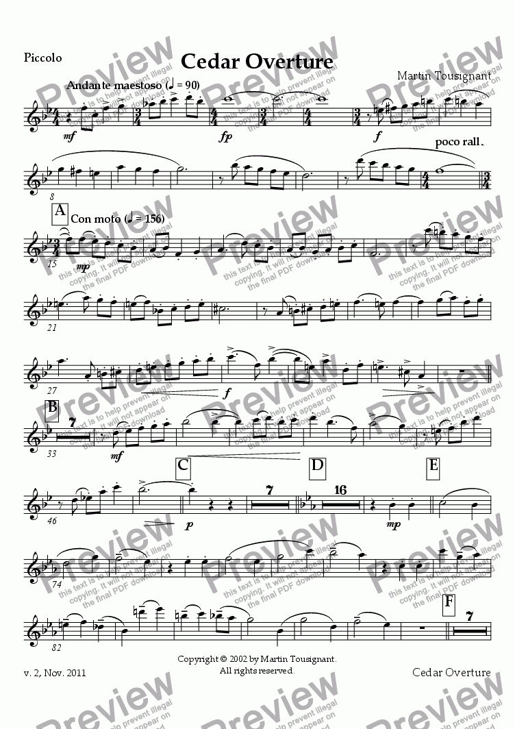page one of the Piccolo part from Cedar Overture