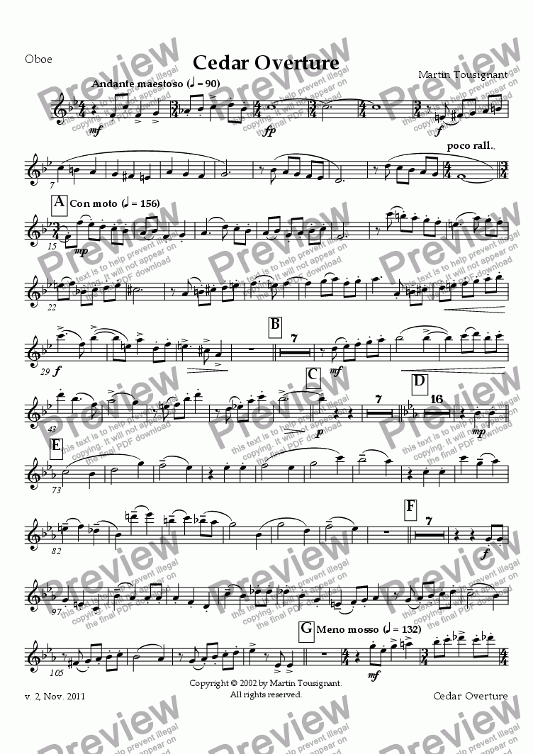 page one of the Oboe part from Cedar Overture