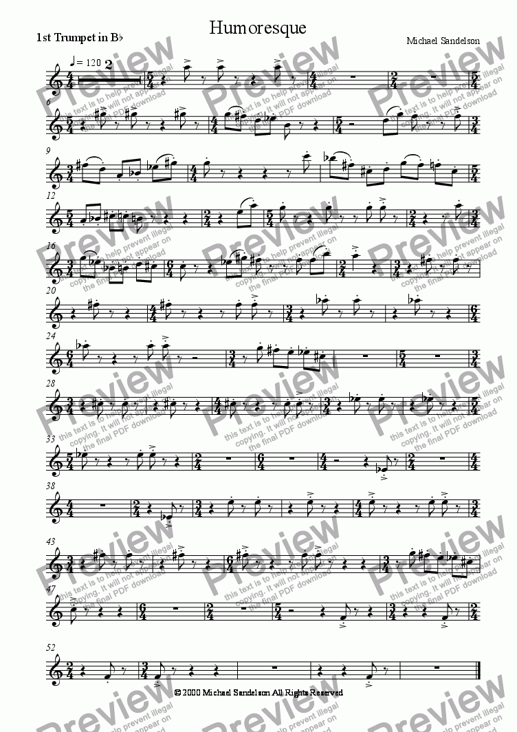 page one of the Trumpet 1 (Humoresque) part from Uro, Koral and Humoresque