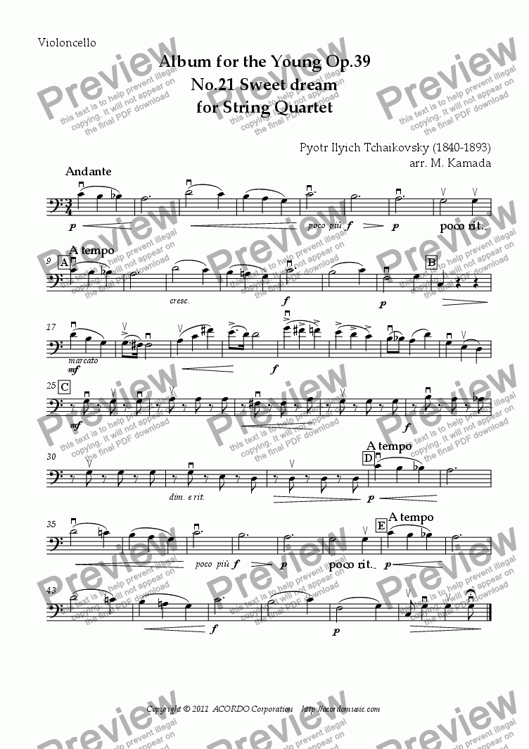 page one of the Violoncello part from Album for the Young Op.39 No.21 Sweet dream for String Quartet