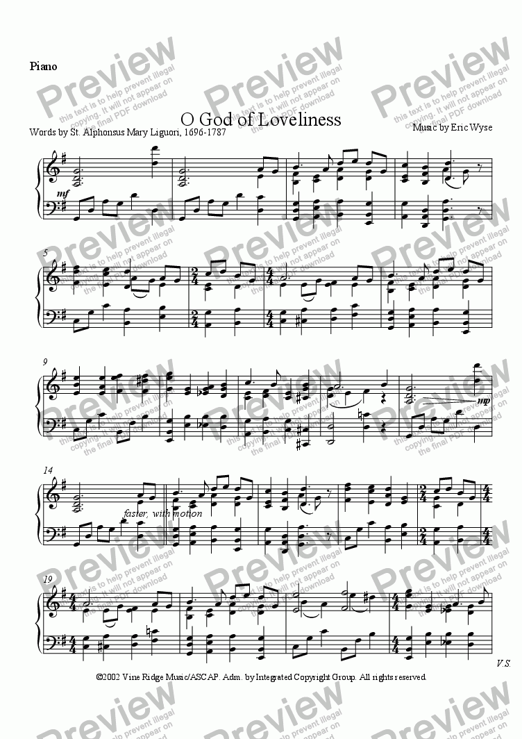 page one of the Piano part from O God of Loveliness