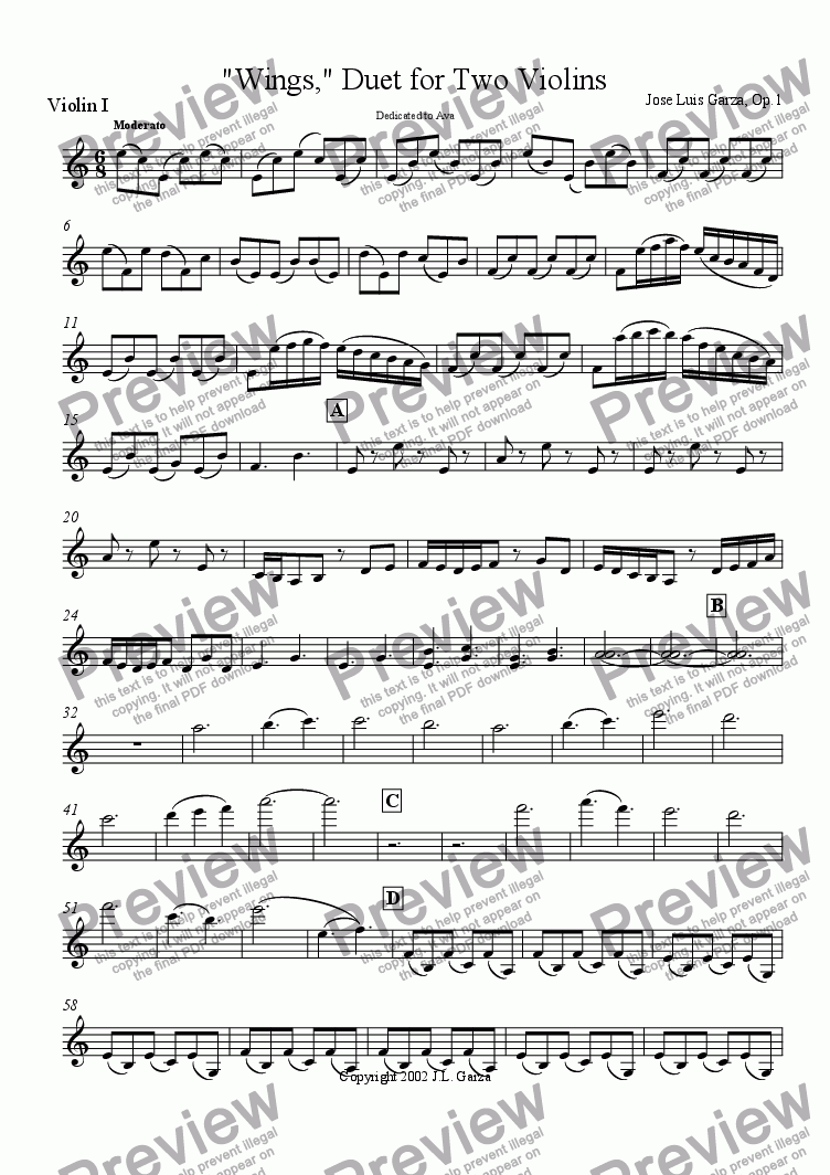 page one of the Violin I part from Wings, Duet for Two Violins