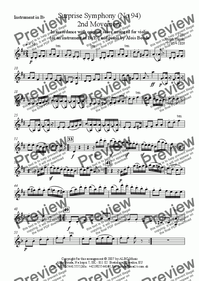 page one of the Instrument in B^b part from Surprise Symphony (No 94) 2nd Movement