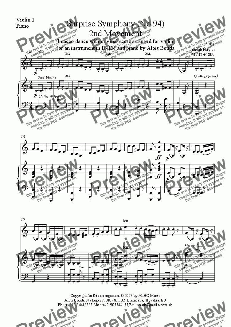 page one of the Violin 1, Piano part from Surprise Symphony (No 94) 2nd Movement