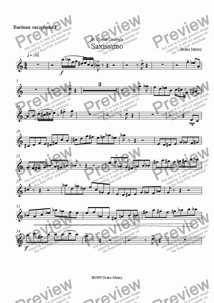 page one of the Baritone saxophone 1 part from Saxissimo for 12 saxophones (SATB)