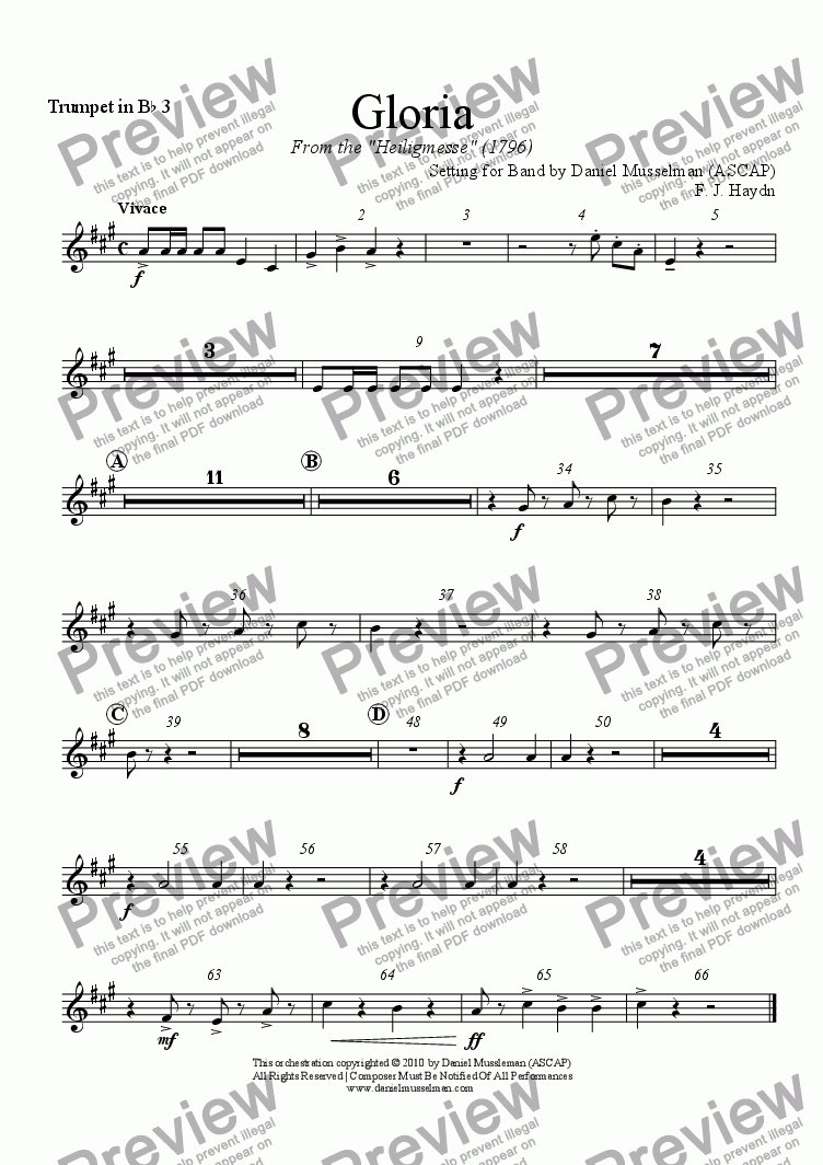 page one of the Trumpet in B^b 3 part from Gloria for Band