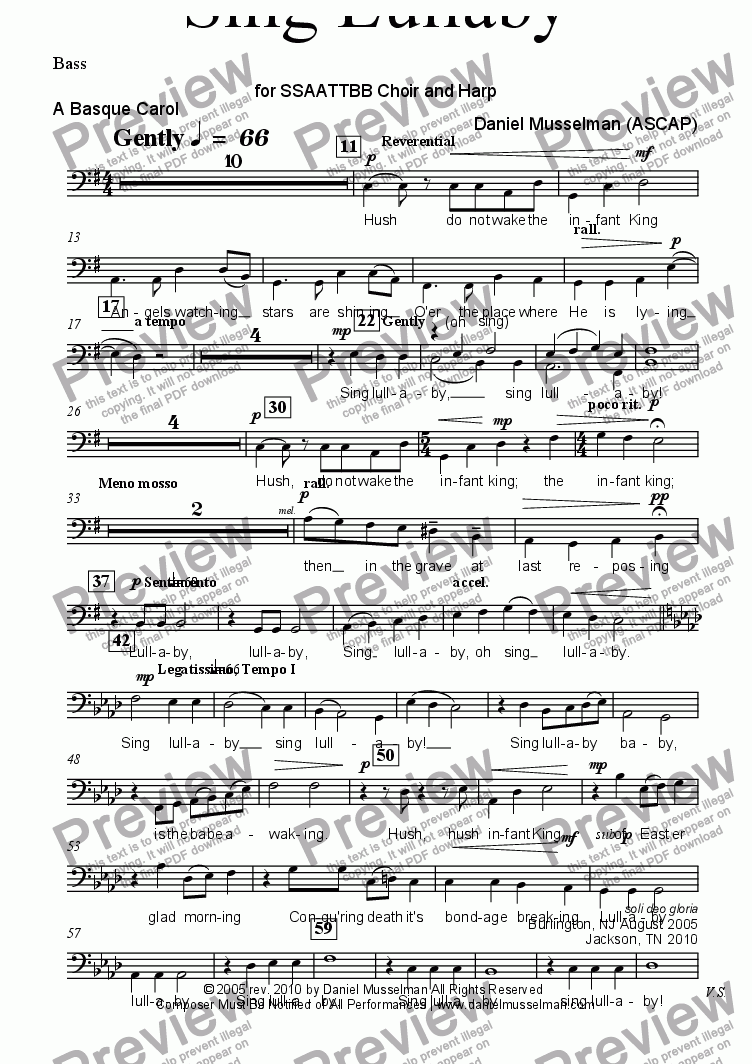 page one of the Bass part from Sing Lullaby