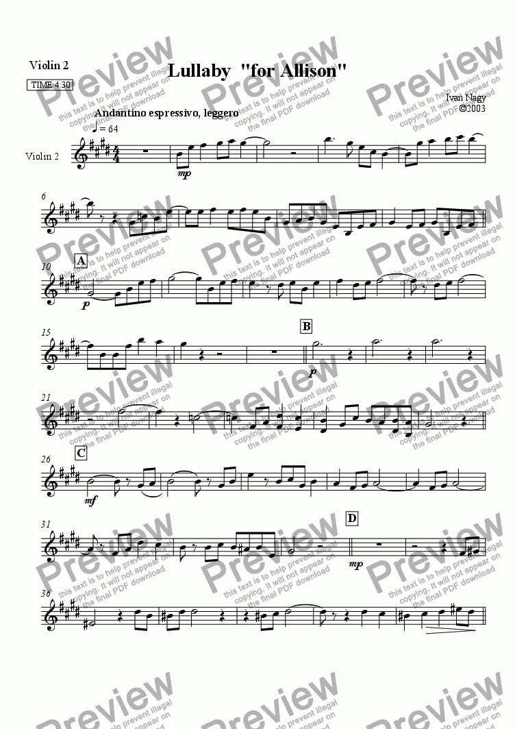 page one of the Violin 2 part from LULLABY (for Allison), for string quartet