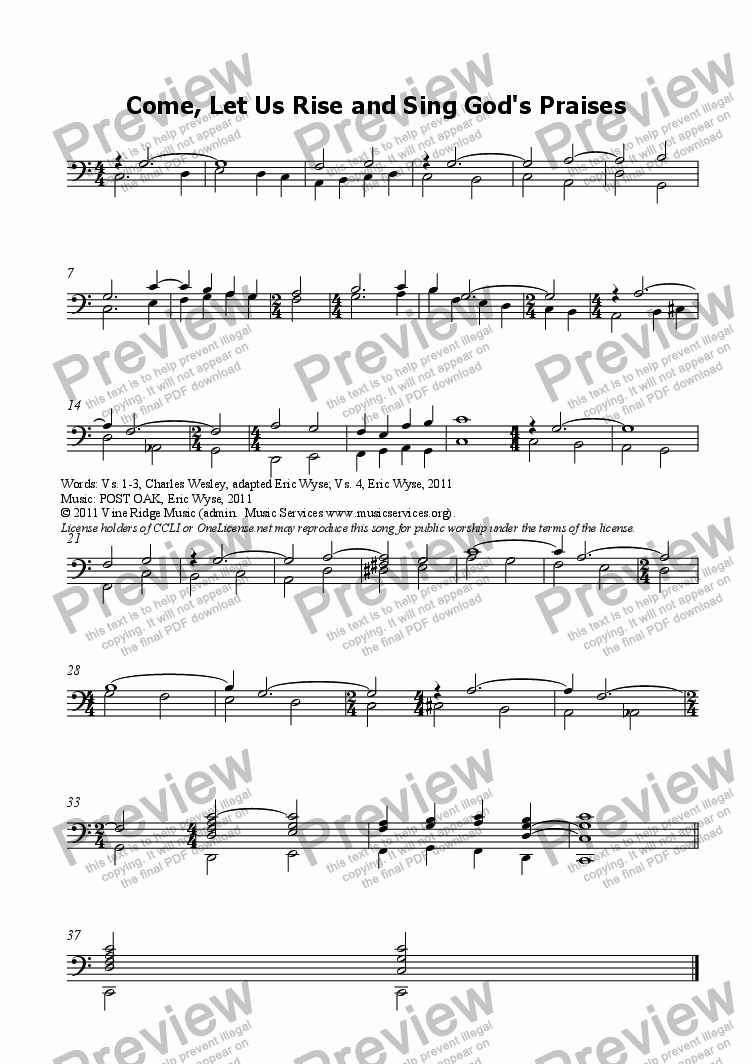 page one of the Choir part from Come, Let Us Rise and Sing God's Praises (tune: POST OAK)