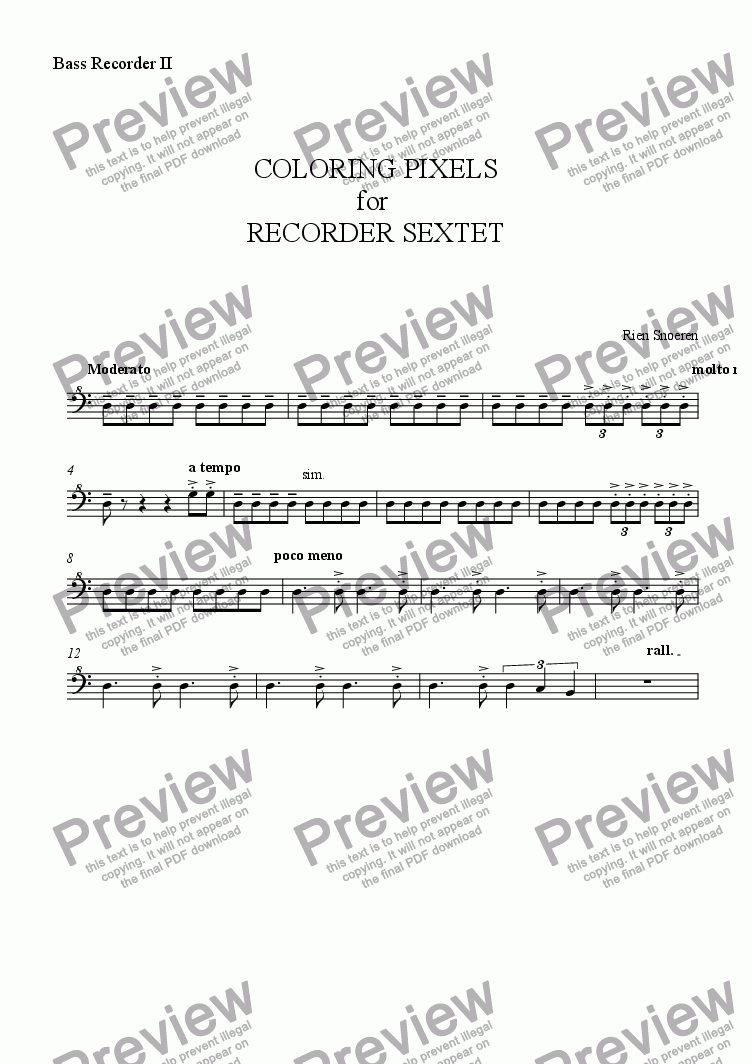 page one of the Bass Recorder II part from COLORING PIXELS for  RECORDER SEXTET