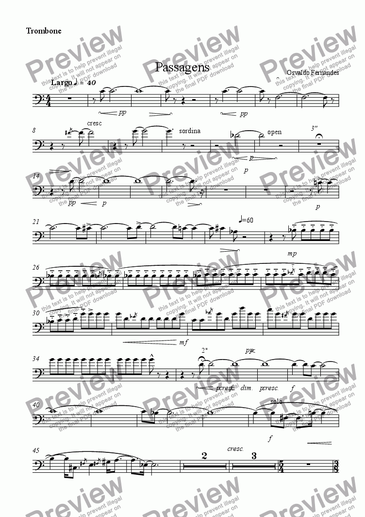 page one of the Trombone part from Passagens