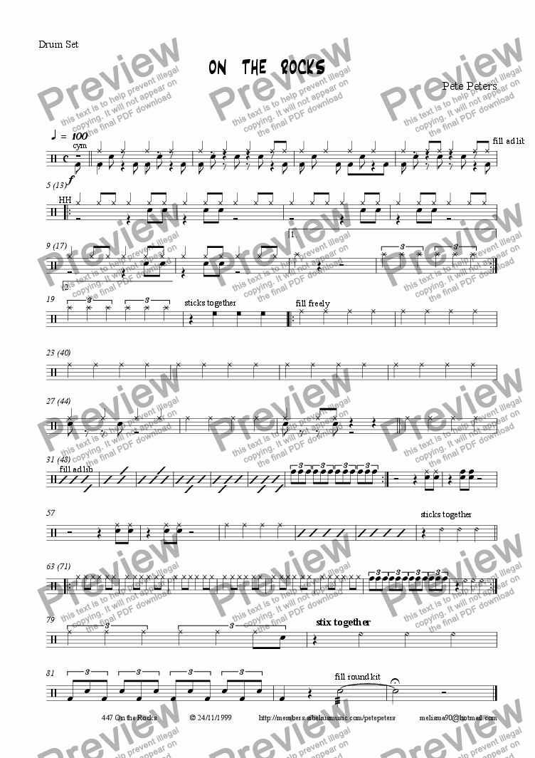 page one of the Drum Set part from ON  THE  ROCKS