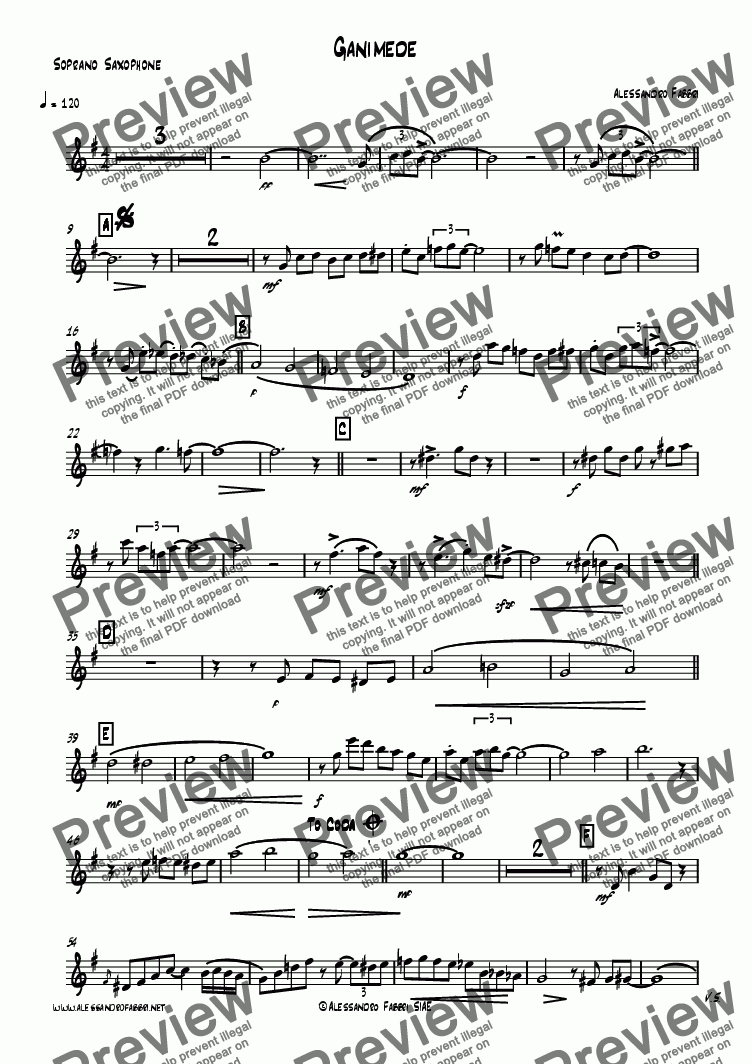 page one of the Soprano Saxophone part from Ganimede for sax 4tet
