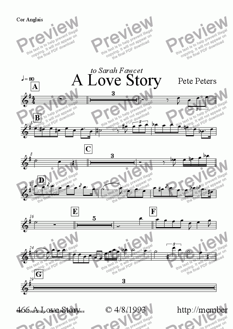page one of the Cor Anglais part from A Love Story