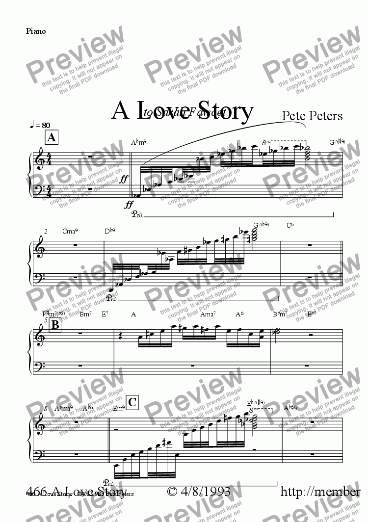 page one of the Piano part from A Love Story