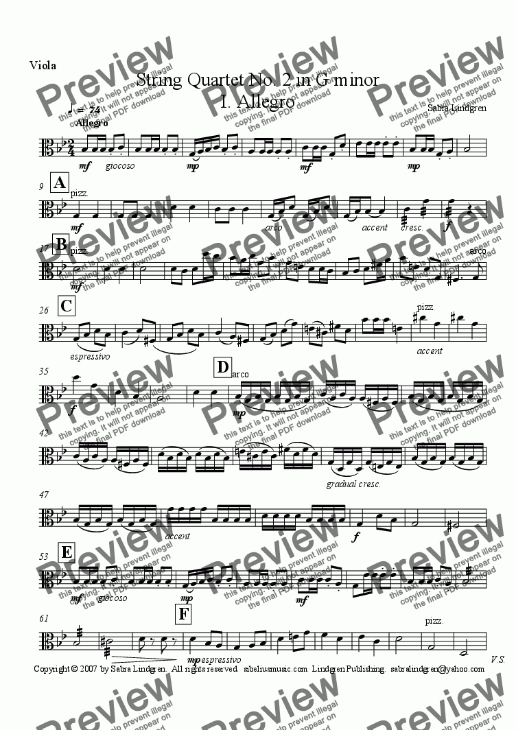 page one of the Viola part from String Quartet No. 2 in G minor I. Allegro