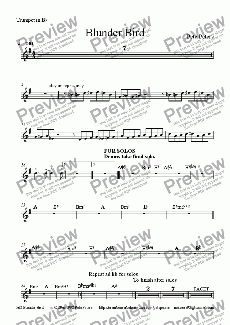 page one of the Trumpet in B^b part from Blunder Bird