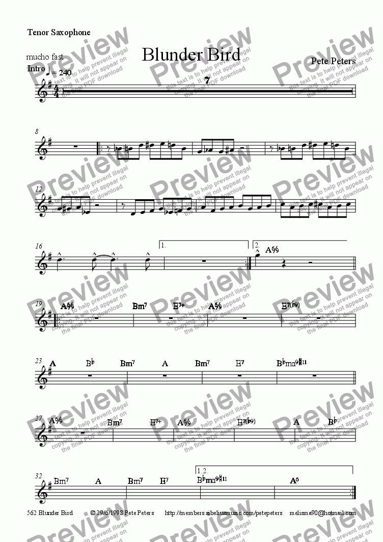 page one of the Tenor Saxophone part from Blunder Bird