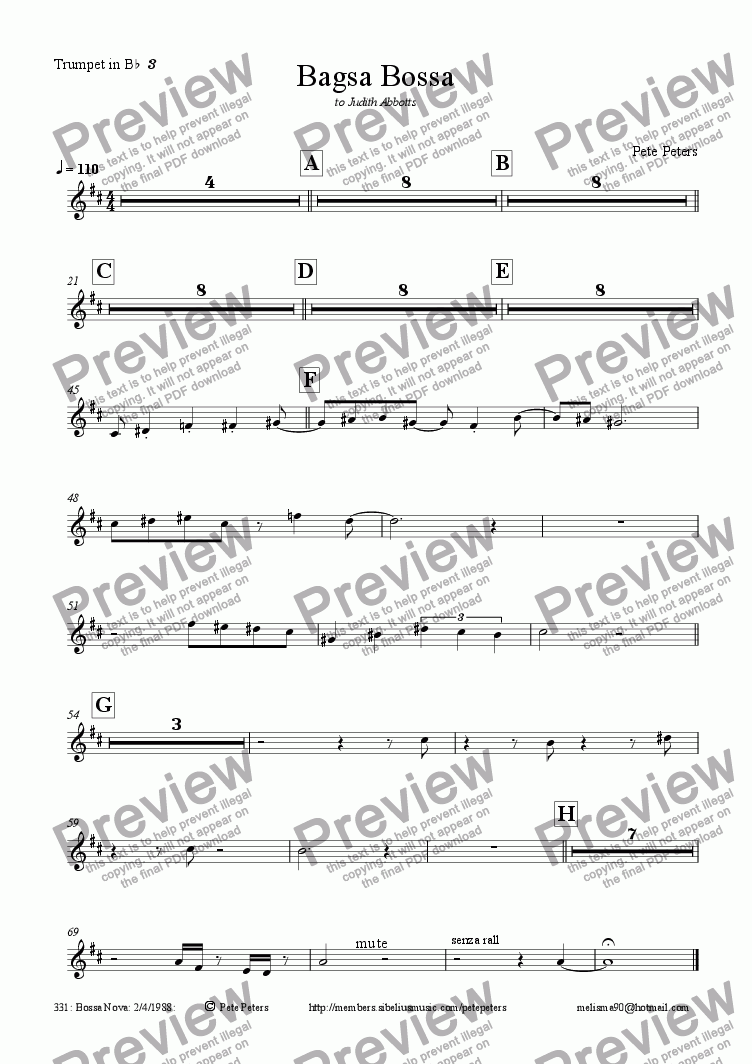 page one of the Trumpet in B^b^ ^3 part from Bagsa Bossa