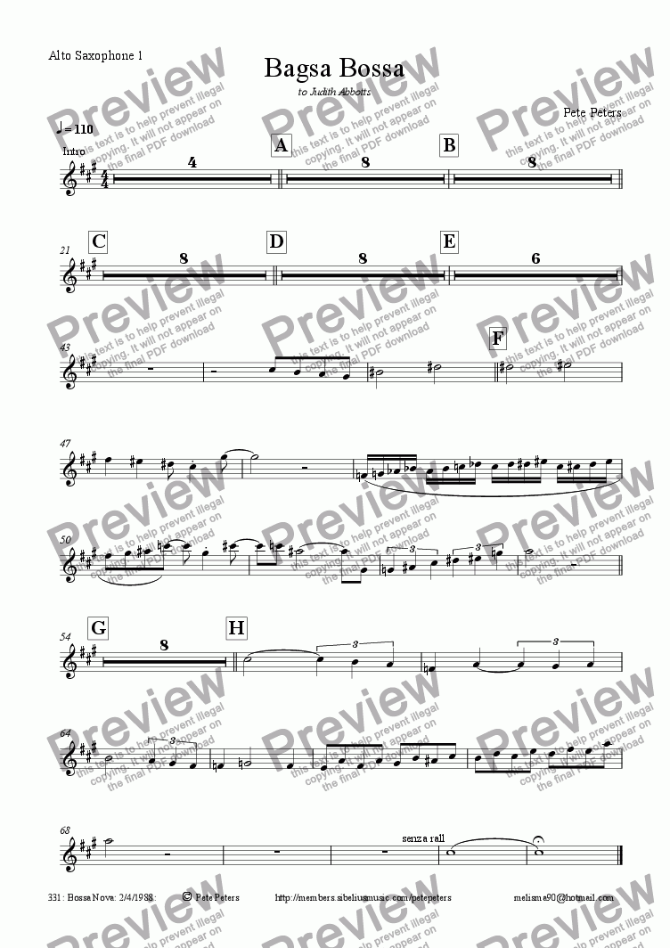page one of the Alto Saxophone 1 part from Bagsa Bossa