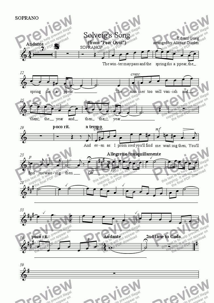page one of the SOPRANO part from Solveig's Song  (Grieg)