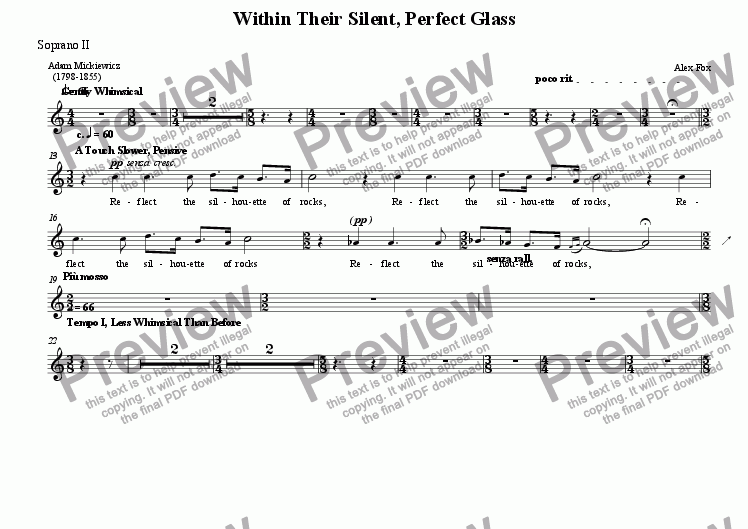 page one of the Soprano II part from Within Their Silent, Perfect Glass