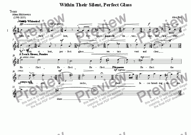 page one of the Tenor part from Within Their Silent, Perfect Glass