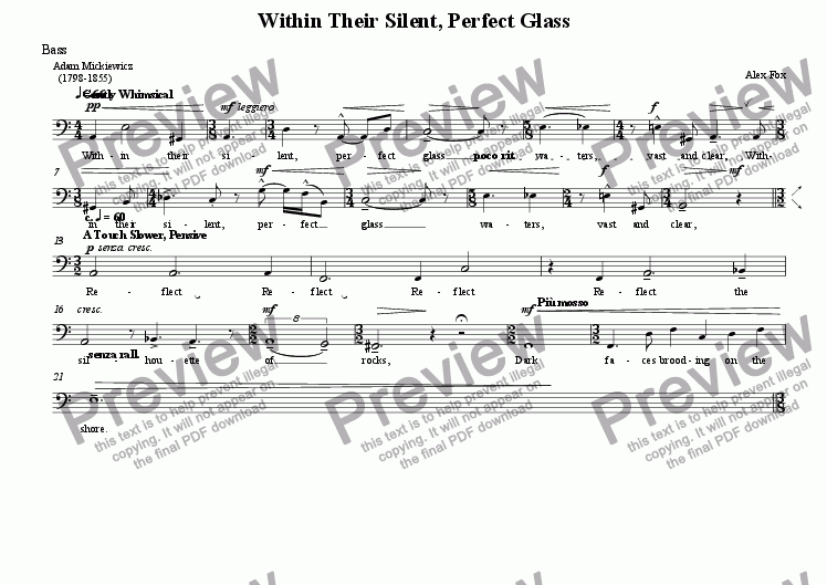 page one of the Bass part from Within Their Silent, Perfect Glass